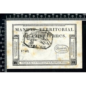 Territorial mandate 5 francs black stamp