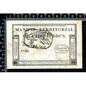 Mandat territorial de 5 francs type cachet noir